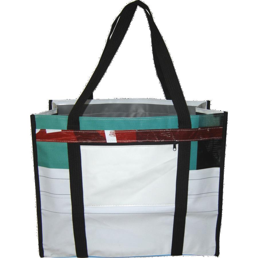 Ecobag sacola feito de retalhos de banner e acabamento externo.